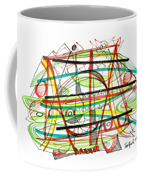 Abstract Coffee Mug featuring the drawing Abstract Pen Drawing Forty-seven by Lynne Taetzsch