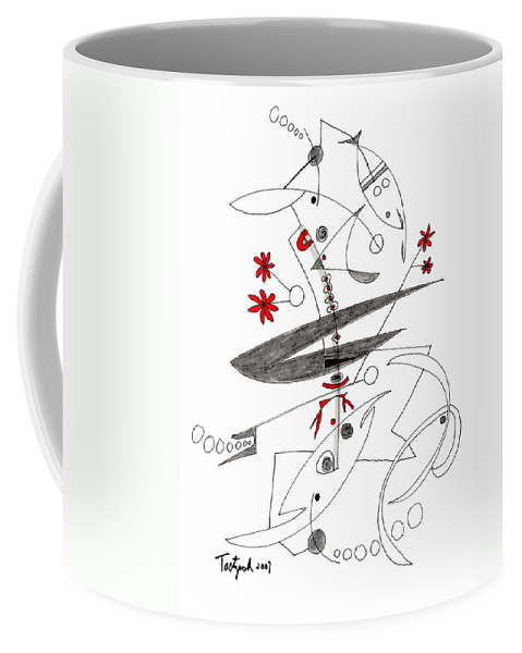 Abstract Coffee Mug featuring the drawing Abstract Pen Drawing Seventy-eight by Lynne Taetzsch