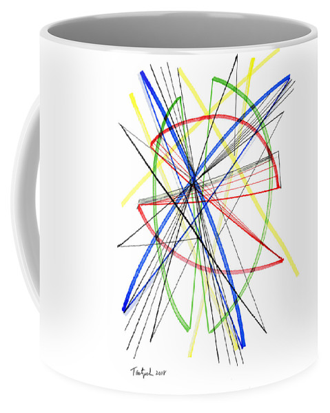 Abstract Coffee Mug featuring the drawing Abstract Pen Drawing Seventy-five by Lynne Taetzsch