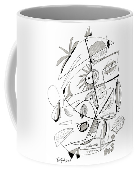 Abstract Coffee Mug featuring the drawing Abstract Pen Drawing Sixty-seven by Lynne Taetzsch