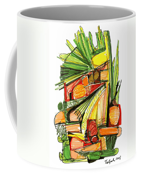 Abstract Coffee Mug featuring the drawing Abstract Pen Drawing Sixty-two by Lynne Taetzsch