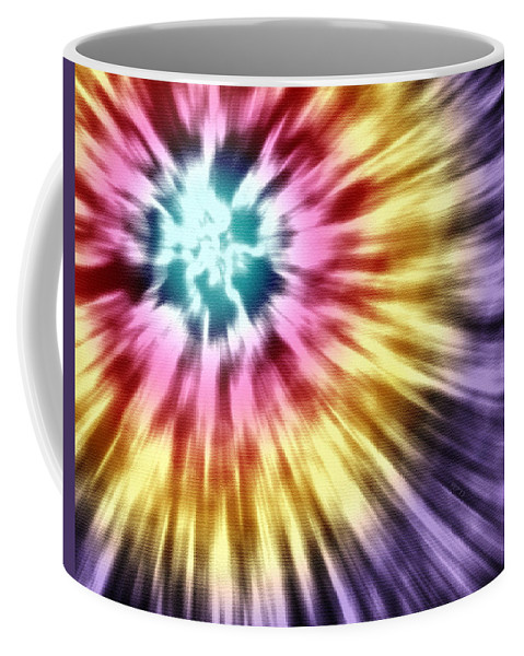 Abstract Coffee Mug featuring the digital art Abstract Purple Tie Dye by Phil Perkins