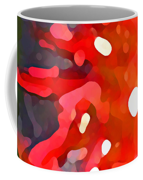Bold Coffee Mug featuring the painting Abstract Red Sun by Amy Vangsgard
