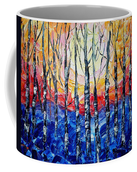 Art Coffee Mug featuring the painting Abstract Sunset by OLena Art Lena Owens