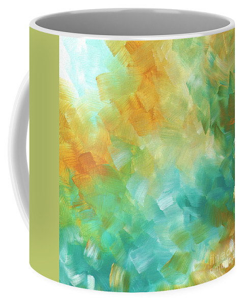 Abstract Coffee Mug featuring the painting Abstract Textured Decorative Art Original Painting Gold And Teal By Madart by Megan Duncanson