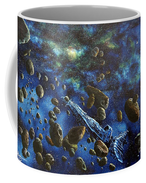 Canvas Coffee Mug featuring the painting Accidental Asteroid by Murphy Elliott
