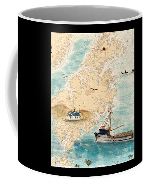 Accomplice Coffee Mug featuring the painting Accomplice Kodiak Crab Fishing Boat Cathy Peek Nautical Chart Map by Cathy Peek
