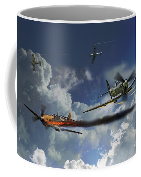 Spitfire Aviation Art Coffee Mug featuring the digital art Aces High by J Biggadike