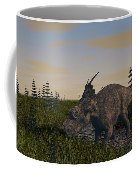 Horizontal Coffee Mug featuring the photograph Achelousaurus Grazing In Swamp by Kostyantyn Ivanyshen