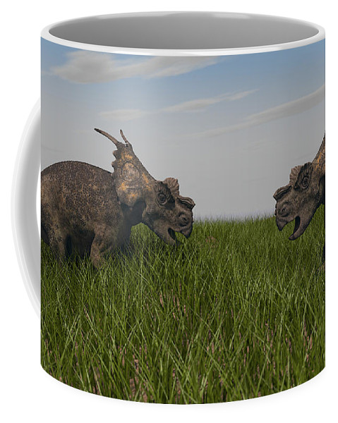 Horizontal Coffee Mug featuring the photograph Achelousauruses Confrontation In Swamp by Kostyantyn Ivanyshen