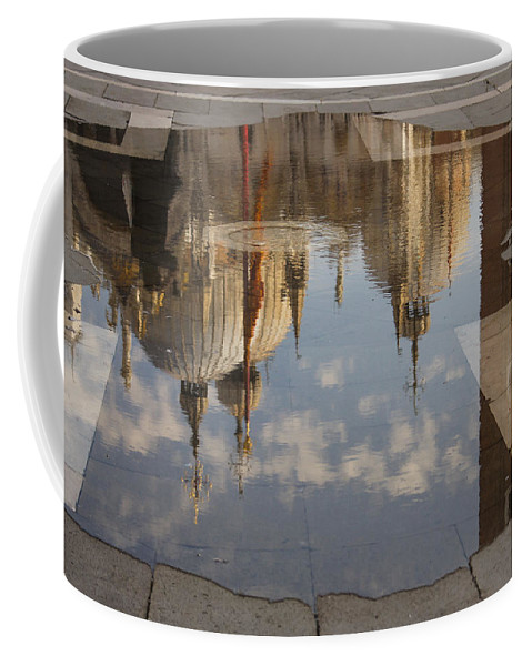 St Marks Cathedral Coffee Mug featuring the photograph Acqua Alta Or High Water Reflects St Mark's Cathedral In Venice by Georgia Mizuleva