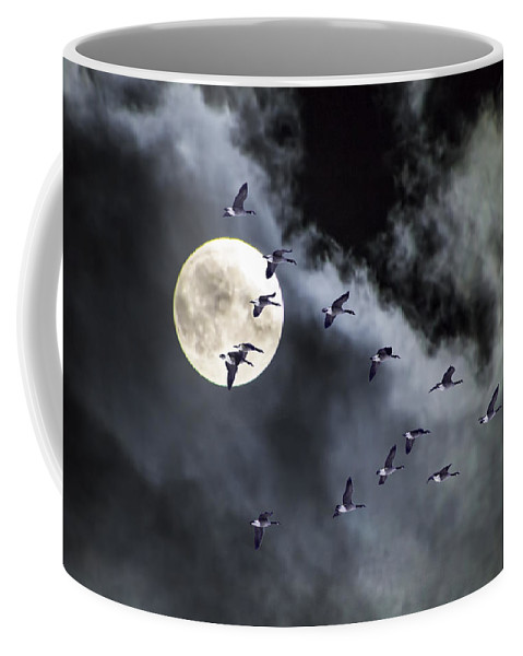 Art Coffee Mug featuring the photograph Across A Harvest Moon by Randall Nyhof