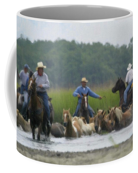 Rodeo Coffee Mug featuring the painting Across Open Water by Dean Wittle
