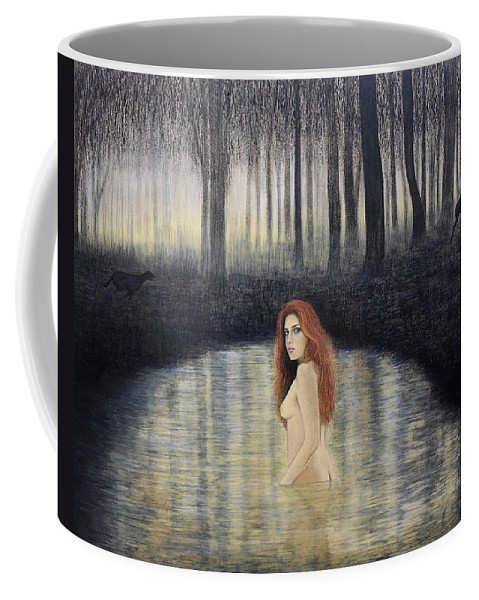 Actaeon And Artemis Coffee Mug featuring the painting Actaeon And Artemis by Lynet McDonald