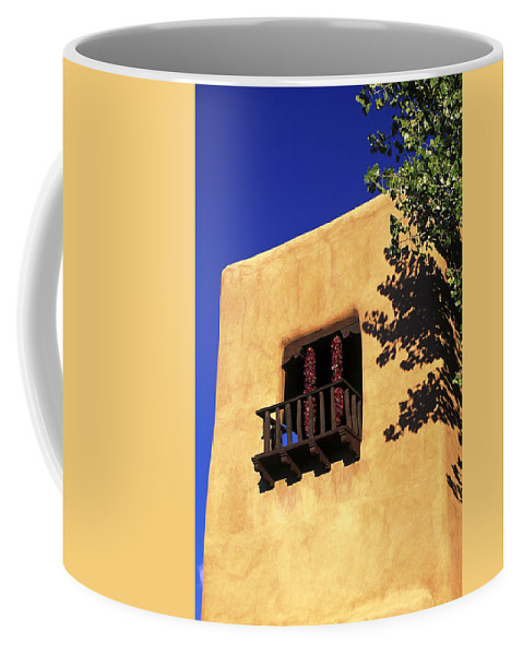 Adobe Wall Coffee Mug featuring the photograph Adobe And Ristras by Sally Weigand