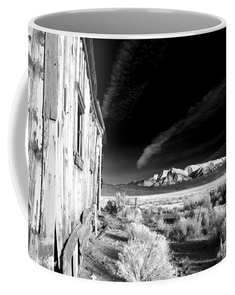 Black Coffee Mug featuring the photograph Adobe Valley Shack by Cat Connor
