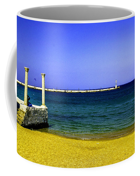 Aegean Coffee Mug featuring the photograph Aegean Lookout by Madeline Ellis