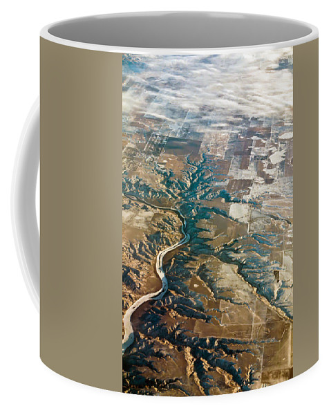 View Coffee Mug featuring the photograph Aerial Of Rocky Mountains Over Montana State by Alex Grichenko
