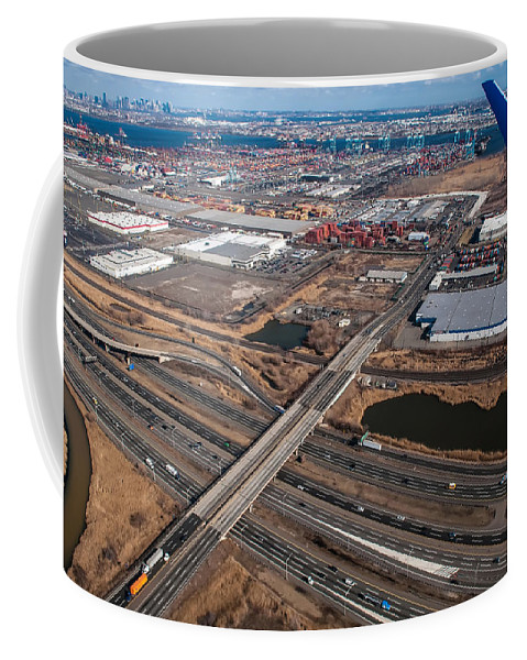 Aerial Coffee Mug featuring the photograph Aerial Over Newark by Alex Grichenko