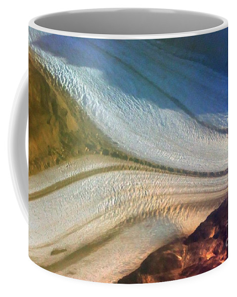 Antarctica Coffee Mug featuring the photograph Aerial View Of An Antarctica Glacier Flow by Tap On Photo