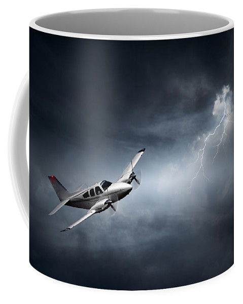 Aeroplane Coffee Mug featuring the photograph Risk - Aeroplane In Thunderstorm by Johan Swanepoel