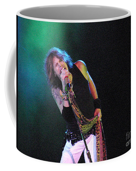 Aerosmith Coffee Mug featuring the photograph Aerosmith - Steven Tyler -dsc00139-1 by Gary Gingrich Galleries