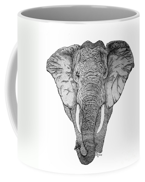 Elephant Coffee Mug featuring the drawing African Elephant by Nick Gustafson