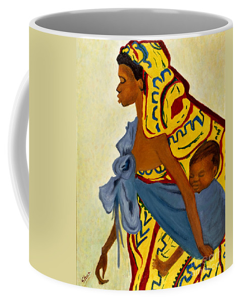 African Mother Coffee Mug featuring the painting African Mother And Child by Sher Nasser