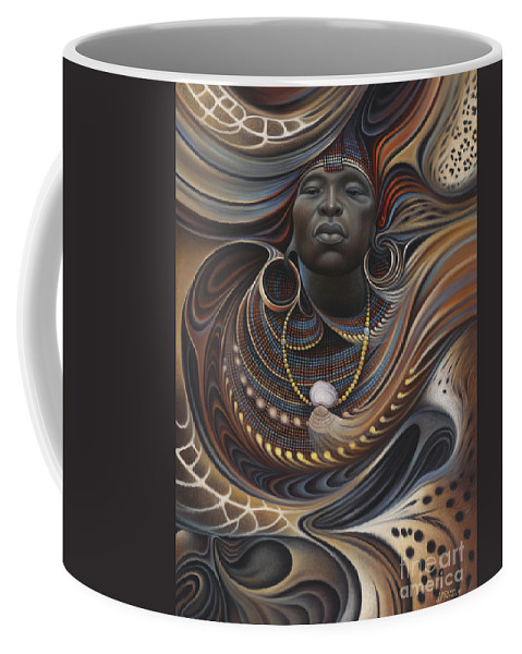 African Coffee Mug featuring the painting African Spirits I by Ricardo Chavez-Mendez