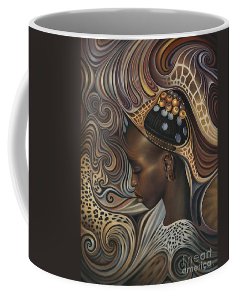 African Coffee Mug featuring the painting African Spirits II by Ricardo Chavez-Mendez