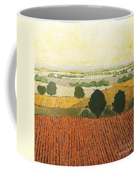 Landscape Coffee Mug featuring the painting After Harvest by Allan P Friedlander