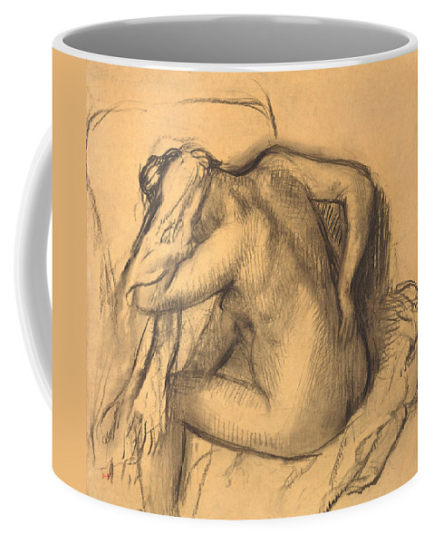 Edgar Degas Coffee Mug featuring the drawing After The Bath .woman Drying Her Hair by Edgar Degas
