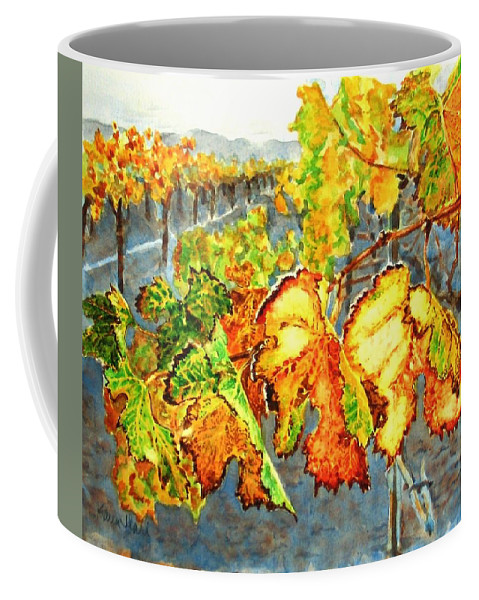 Vineyard Coffee Mug featuring the painting After The Harvest by Karen Ilari
