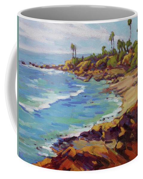 Laguna Beach Coffee Mug featuring the painting Afternoon Glow 2 by Konnie Kim