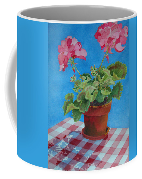 Floral. Duvet Coffee Mug featuring the painting Afternoon Shadows by Mary Ellen Mueller Legault