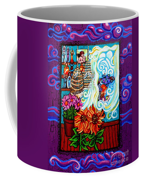 The Unfastened Heart Coffee Mug featuring the painting Afternoon Tea By The Window by Genevieve Esson