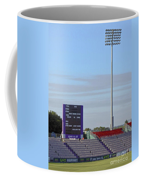 Floodlight Coffee Mug featuring the photograph Ageas Bowl Score Board And Floodlights Southampton by Terri Waters