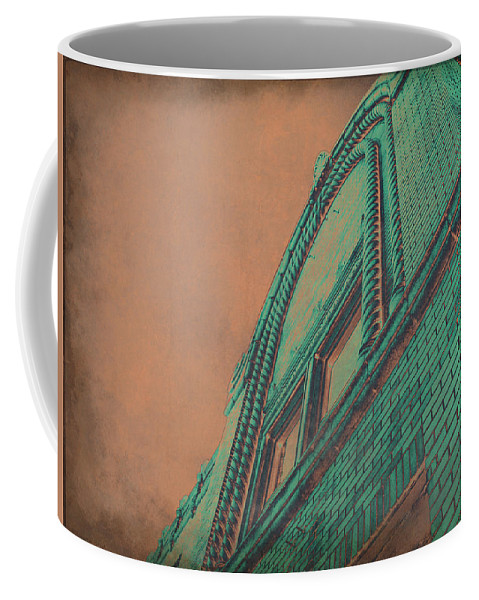Copper Building Coffee Mug featuring the photograph Aged Copper Theater by Shawna Rowe