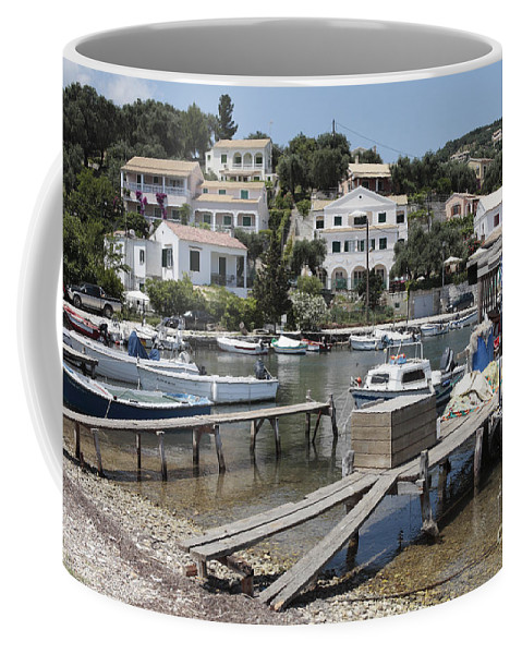 Fishing Boats Coffee Mug featuring the photograph Agios Stefanos Corfu by Neil Overy