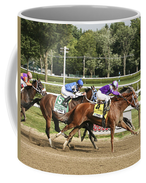 Saratoga Race Track 2013 Coffee Mug featuring the photograph Ahead By A Nose by Eric Swan
