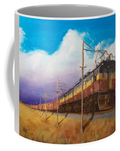 Electric Locomotive Coffee Mug featuring the painting Ahead Of The Weather by Christopher Jenkins