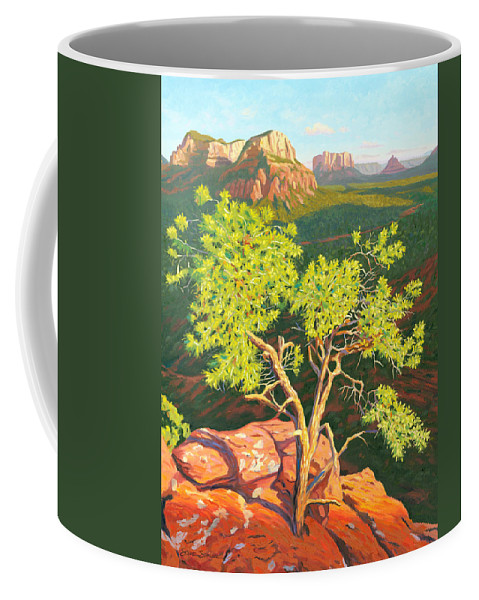 Pinion Pine Tree Coffee Mug featuring the painting Airport Mesa Vortex - Sedona by Steve Simon