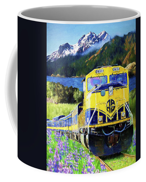 Railroad Coffee Mug featuring the painting Alaska Railroad by David Wagner