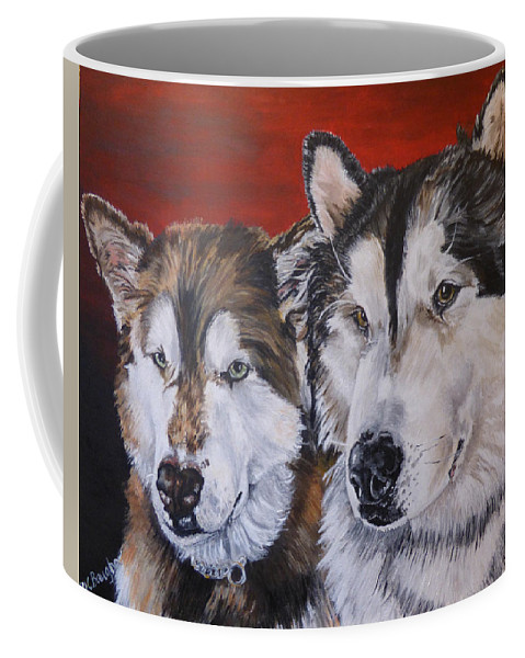 Dog Coffee Mug featuring the painting Alaskan Malamutes by Wendy Baughn