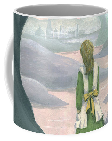 Alice In Wonderland Coffee Mug featuring the painting Alice by Suzette Broad