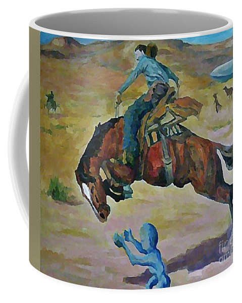 Fantasy Coffee Mug featuring the painting Alien Roundup by John Malone