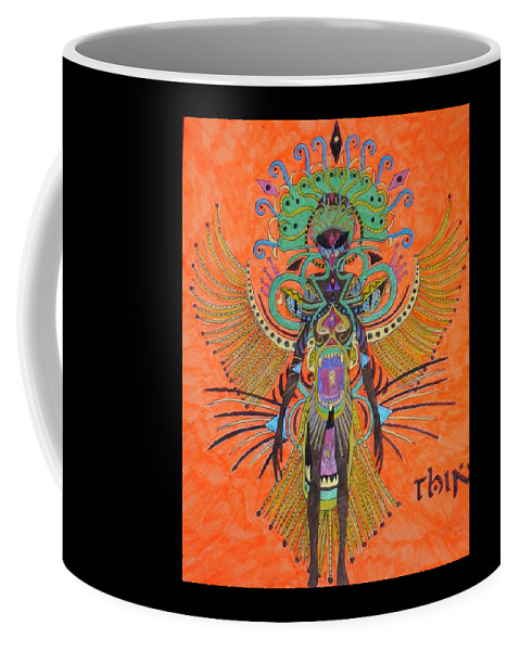 Alien Coffee Mug featuring the painting Alien With Thing by Michael Pasko