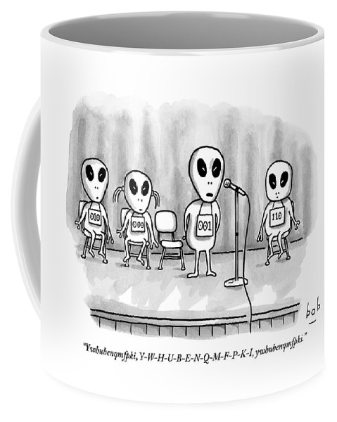 Space Travel - Aliens Coffee Mug featuring the drawing Aliens Participating In A Spelling Bee by Bob Eckstein