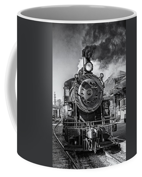 Steam Train Coffee Mug featuring the photograph All Aboard Bw by Susan Candelario