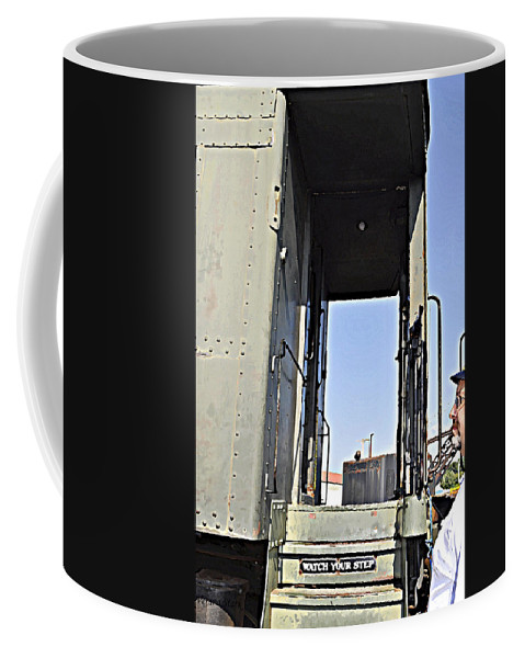 Old Trains Coffee Mug featuring the photograph All Aboard From The Series View Of An Old Railroad by Verana Stark